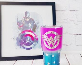 Wonder Woman 30oz custom cup/pink Wonder Woman powder coated cup/Superhero custom cup/