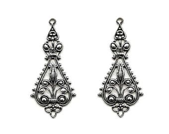 2 Filigrees Pendants Drops,Oxidized Silver, 43x20mm