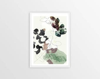 A4, eucalyptus, abstract, Wall art, Decoration, Home decor, Print, Mural Art, botanical, watercolor, herbarium, hand drawn