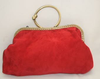 Red Suede and Silk Clutch or Evening bag