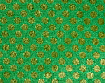 Half Yard of Light Green and Dark Brown Bold Dotted Brocade Silk Fabric by the yard