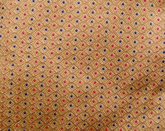 10% Off On Golden, Red and Blue Dotted Design Pattern Brocade Silk Fabric by the yard