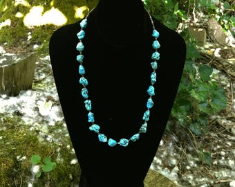 Nugger Turquoise and Shell Heishi Necklace