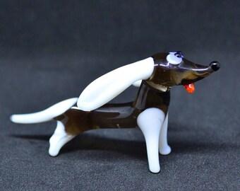 Little dog figurine dog animals glass doggy miniature art glass doll house toy murano animals tiny small dog figure glass dog sculpture
