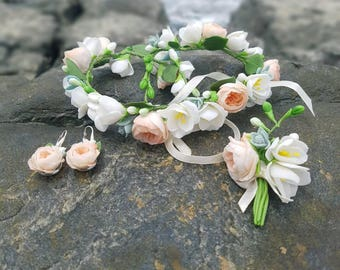 wedding jewelery set, rose decore, fresia headband, bride flowers, peach headband, peach earrings, wedding glass decor, girls gift, groom