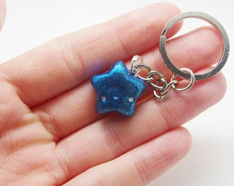 Handmade, polymer clay, glittery, blue, star key chain