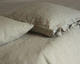 Linen pillowcase with ties, standard, queen, king, euro sham, body pillow size. Softened & stonewashed