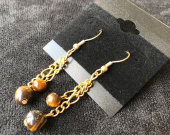 Brown Spheres with Gold Chain Earrings