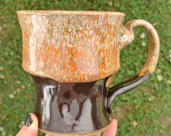 Pedestal Stein in Orange Lace-- Ceramic Mug Cup stein