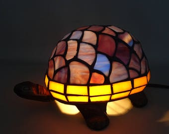 Tiffany Style Turtle Table Lamp - bronzed metal foot - blue or green glass - animal statue lamp gift for woman gift for girl