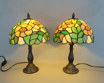 Two identical Tiffany style glass table lamp with a bronzed metal foot - house decoration gift for woman gift for men