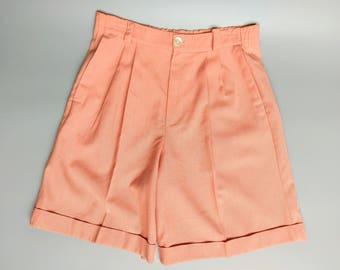 ginger / salmon pink high waisted linen shorts / 10 12 medium