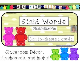Candy-Themed Dolch Sight Words-First Grade Word List- High Frequency Words- Learn to Read-Classroom Decor-Flash Cards- School Activities-ABC