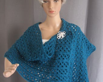 Lace-Style Blue Crochet Stole