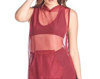 Women's Mesh Sleeveless Hoodie Tunic Top