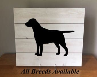 "Black Lab, Reclaimed Wood Wall Art, Wood Sign, Wall Art, Dog Silhouette, Rustic, Home Decor 16"" x 14"""