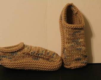 Hand Made Knit Slippers, Beige Slippers