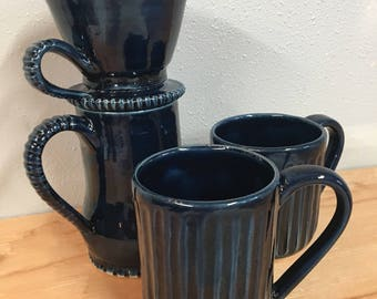 Pour over coffee maker and two mugs