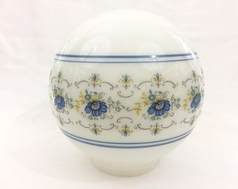 Vintage Frosted White Glass With Blue Floral Design Ceiling Globe