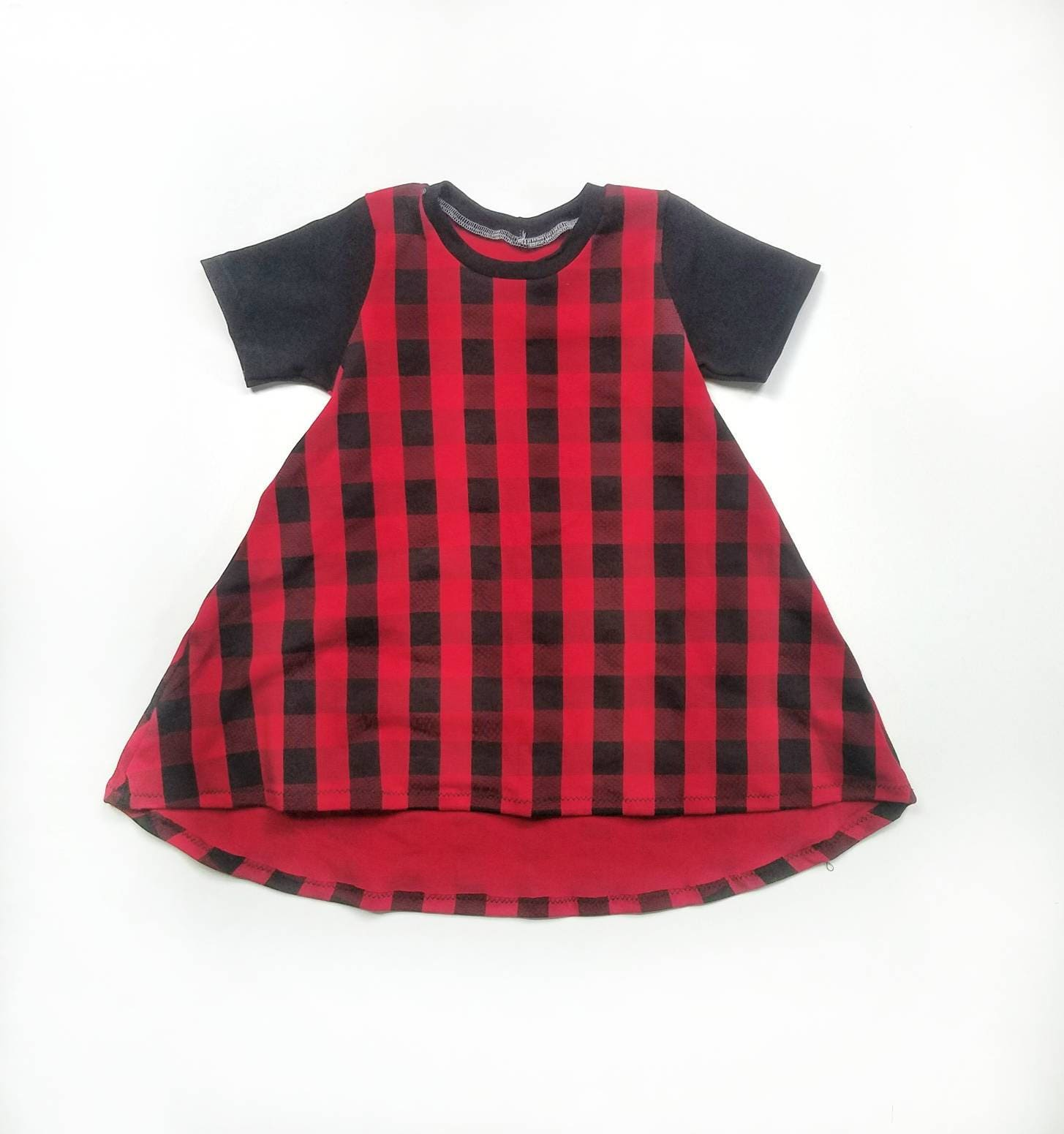 baby dress toddler dress christmas dress buffalo plaid dress red plaid dress