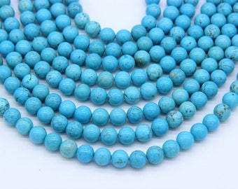 Blue Turquoise Magnesite Beads 6mm 8mm Blue Howlite Beads Blue Mala Bead Turquoise Mala Beads Supplies Blue Marble Beads Turquoise Gemstones
