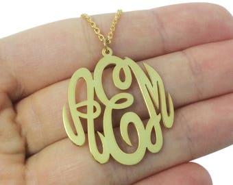 Custom Monogram Necklace, Rose Gold Monogram Necklace, Gold Monogram Necklace, Monogram Pendant, Monogram Jewelry, Bridal Monogram Necklace