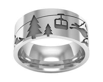 Silver Landscape Band Ring, Forest Ring, Cable Car Ring, Mountain Ring, Nature Band Ring, Ski Ring, Silver Wedding Band Ring