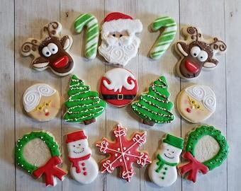 Christmas Cookies, Reindeer Cookies, Santa Cookies, Snowman Cookies