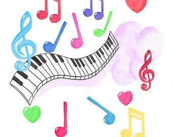 Colorful Watercolor Musical Notes and Piano Keyboard Set, Clip art, Keyboard Instrument, Music, Note, Melody, Sound, Tune