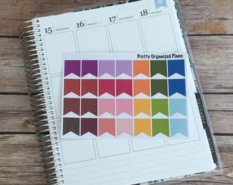 Multicolor Page Flags || 28 Planner Stickers