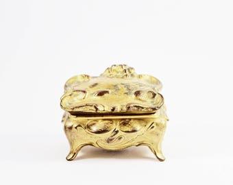 Vintage Bronzed Victorian Style Box / Trinket Box / Brass Box