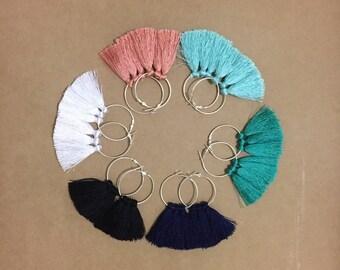Large Silver Hoop - Silk Tassel Earrings / various colours