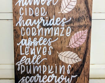 Fall Decorative Hand Painted Wooden Sign