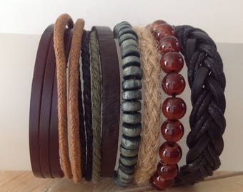 Leather Wrap Bracelets - 6 Separate Bracelets - Mix and Match - Beads - Leather - Cord - Jute - Woven - Braided Leather