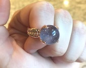 Reserved for Octavia- Custom light amethyst sphere ring with leaves on band