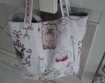 Cotton canvas tote bag with a cat print
