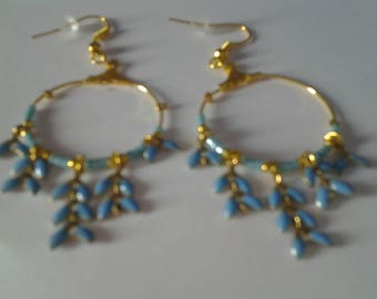 Earrings hoops with Laurel leaves blue