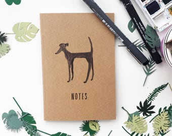 A6 dog notebook, Dog notebook, greyhound notebook, Recycled notebook, Eco notebook, Made by Harriet, Whippet notebook, Dog gift, Dog present