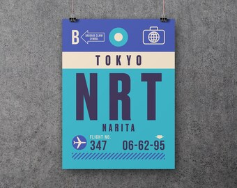 Retro Luggage Tags Poster Art Print