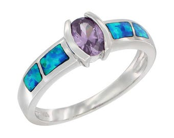 Sterling Silver Blue Opal Solitare Ring Amethyst