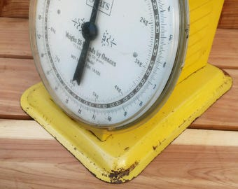 vintage Sears yellow mechanical scale for kitchen or shop, retro kitchen decor, mancave garage shop scale, Sears collectible