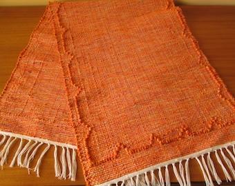 Handmade woven table runner   Orange table runner   Home decor   Kitchen decor  