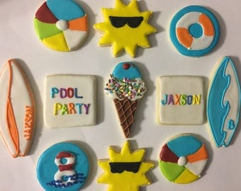 Pool Party/Beach Themed Cookies