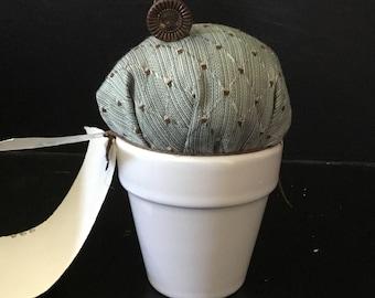Cactus pin cushion-white ceramic flower pot-green fabric-pearl stick pin-vintage buttons-desert-sewing-needlework-needles
