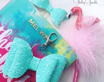 Aqua glitter key ring/ bag charm for women, teens, girls, gifts for her, bag charm.