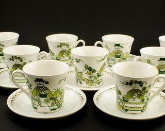 Vintage Figgjo Flint Market Teacups & Saucers - Turi Gramstad Oliver Scandinavian Design - Turi-Design Tea Cups and Saucers - 2 Available
