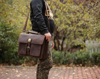 Brown Leather Messenger bag/ Leather Shoulder Bag/ Leather Briefcase / Italian Full Grain Leather/ Leather Mens Bag/ Personalized Bag