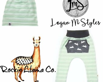 Pastel Stripe Joggers Mint Bunny Easter Spring Trendy Boy Girl Baby Toddler Harems Pants With Pocket
