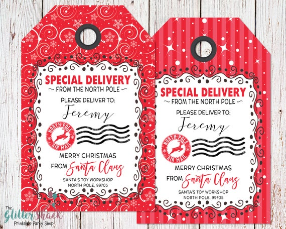 Personalized from santa gift tags personalized north pole like this item negle Images