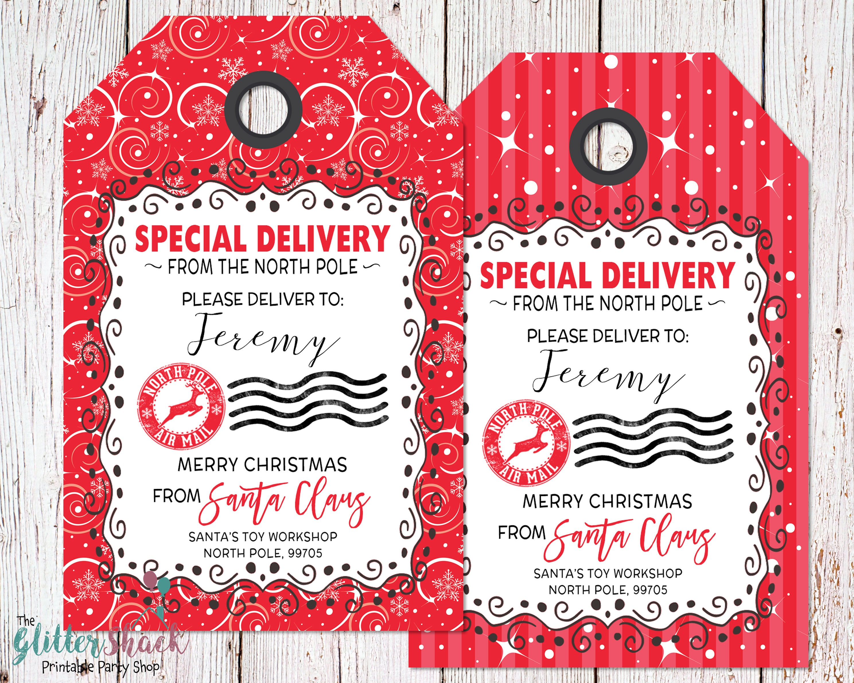 Personalized from santa gift tags personalized north pole zoom negle Choice Image